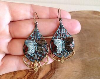 Steampunk Art Nouveau Patina Butterfly Earrings