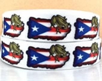 "1"" Puerto Rico Flag / Coqui Ribbon - 3 yards"