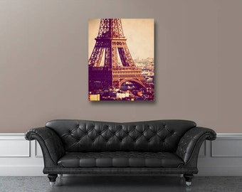 Paris canvas art, Paris photography, Eiffel Tower, photo on canvas, large wall art, Paris decor, Paris photograph
