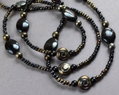 Black Iridescent Bronze Extra Long Beaded Necklace Chic Fashion Jewelry Glass Beads Handcrafted Jewellery Paisley Beading FREE Shipping