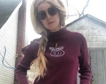 60s fruit sweater cherry turnip acrylic vtg