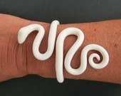 White snake bracelet/ Fimo (polymer clay) flexible snake around the arm/ can bend open carefully to put on