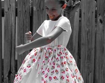 Girl's Cherry Dress, Girl's Vintage Dress, Girl's Apron Dress