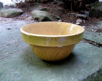 yellow and green tiny stoneware mixing bowl very old