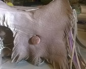 Fringed Leather Handbag, Native American Inspired, Crossbody bag,leather feathers, tree of life charms,adjustable strap,partial lining