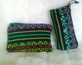 Handmade Gift Bag Set / 2 Bags / Zipper Bag and Padded Pouch/ Mexican Woven Bags