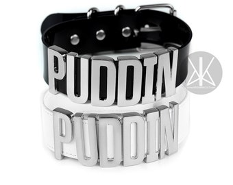Authentic Harley Quinn PUDDIN Choker Replica   Cosplay   Suicide Squad Movie   Halloween Costume   Comics   BIG Letters - SILVER