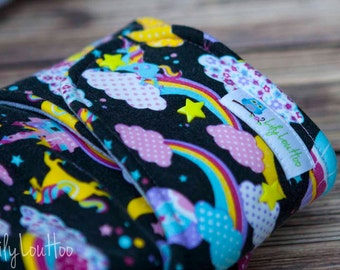 """Hybrid Fitted Cloth Diaper- """"Unicorns and Rainbows on black"""""""