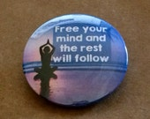 Yoga Pose Pinback Button, Yoga Magnet, Namaste Keychain, Free Your Mind, Free Spirit Hippie Backpack Pin, Freedom Beach Goa India Travel Pin