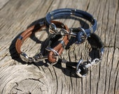 Nautical anchor necklace and anchor bracelet in leather for Marc