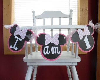 Minnie Mouse First Birthday - Minnie Mouse Birthday Banner-Minnie Mouse Highchair Banner-Minnie Mouse Photo Prop Banner- Pink & White Minnie