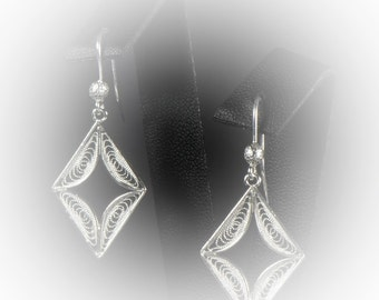 Embroidered silver diamond earrings
