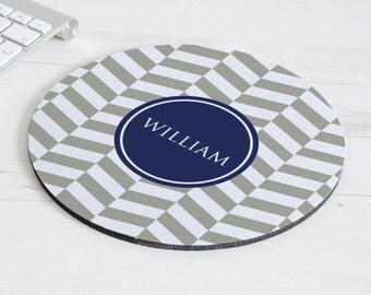 Herringbone Print Mouse Mat – personalised mouse pad – round mousepad – desk decor - personalized graduation gift - coworker gift - p07