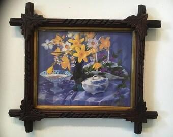 """Vintage """"tramp art"""" framed daffodils"""