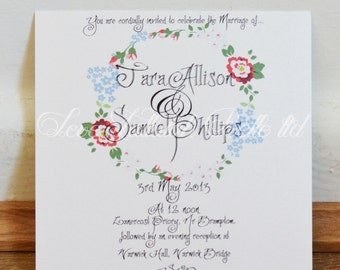 Pretty Flowers Wedding Invitation