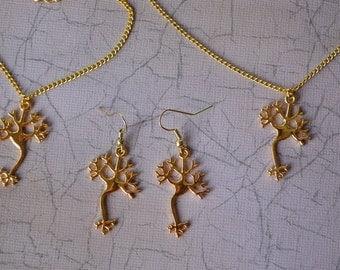 Biolojewelry - Ultimate Set Neuron Science Bracelet Earrings and Necklace Set