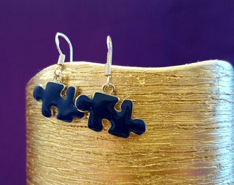 EARRINGS: Beautiful Autism Awareness Sterling Silver Earrings with Puzzle Charm