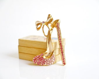 1pcs Bling Pink Crystal High-heeled shoes Alloy jewelry accessories materials supplies