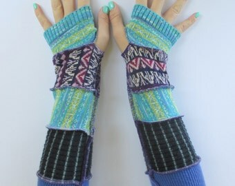 Unique Fingerless Gloves - Recycled Sweater Gloves - Texting Gloves - Gloves for Her - Gift for Daughter - Driving Gloves - Hippie Gloves