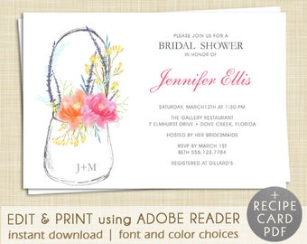 Mason Jar Bridal Shower Invitation - EDITABLE PDF - Instant Download -  Printable - Rustic - Watercolor - Floral