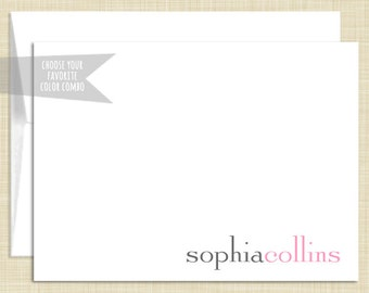 Personalized Stationery - Personalized Stationary - Note Cards - set of 10 folded notecards - PREPPY NAME