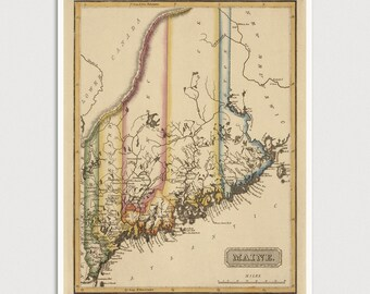 Old Maine Map Art Print 1817 Antique Map Archival Reproduction