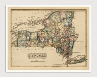 Old New York State Map Art Print 1817 Antique Map Archival Reproduction