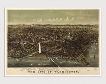 Old Washington DC Map Art Print 1892 Antique Map Archival Reproduction
