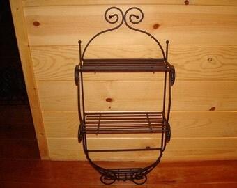 wrought iron shelf etsy. Black Bedroom Furniture Sets. Home Design Ideas