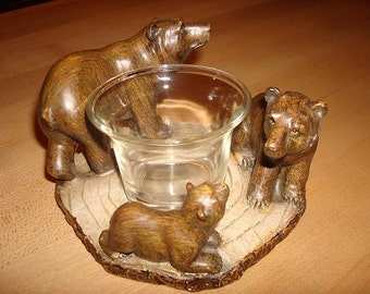 Unique Three Brown Bears Candle Holder