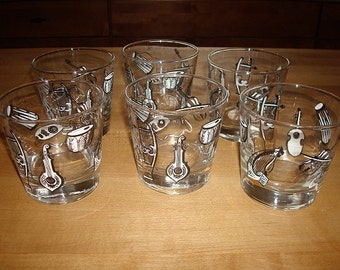 Unique Set Of Six Glass Musical Instrument Drinking Glasses / Glass Tumblers
