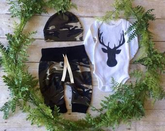 Newborn Boy Take Home Outfit / Newborn Boy Coming Home Outfit / Newborn Deer Camo Outfit // Camo Deer Head Clothing Set //