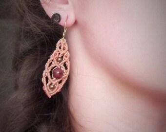Macrame Mookaite Jasper fairy earrings salmon pink, peach