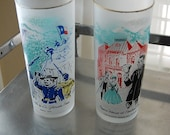 Vintage Colorado Glasses, drinkware, cups, Central City, Battle of La Glorieta Pass, frosted, glass