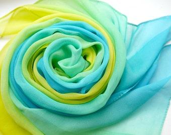 Chiffon Scarf, Silk Scarf, Scarf for Her, Lightweight Scarf, Handmade scarf, Woman's Scarf