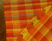 Handwoven Rag Rug in Fiery Bands of Orange and Yellow
