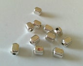 5.4x4.2mm Smooth Soft Square Sterling Silver Beads. 45 Pieces.