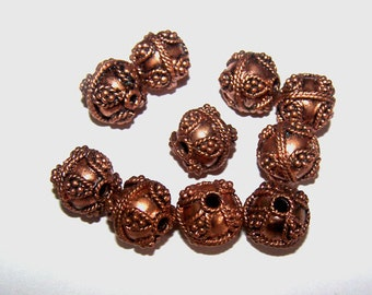 Destash Solid Copper Fancy Beads /Burnished Copper/Findings, Large Hole Bead