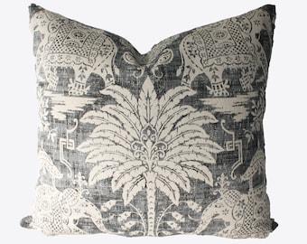 Decorative, Old World, Charcoal Elephant Pillow Cover, Grey, 18x18, 20x20, 22x22 or Lumbar Throw Pillow