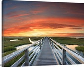 Extra Large Canvas Wall Art, Beach Photography, Cape Cod Photo, Bass Hole Boardwalk Sunset, Huge Art, Oversized Print, Red Blue Green Yellow