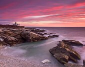 Landscape Photography Sunset Seascape Photo Beavertail Lighthouse Print Rhode Island Picture Coastal Beach Wall Art Purple Red Teal Blue