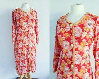Vintage 1940s Red Floral Dress - 40s House Dress