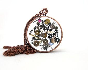 Watch Gears Resin Pendant Necklace  - Real watch gears encased in resin with open back copper bezel - Steampunk Jewelry - Watch Gear Jewelry
