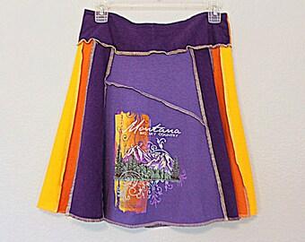 Boho Upcycled T Shirt Skirt Montana Recycled Sustainable Fashion Clothing Women's Fashion Hippie Clothes Size Medium