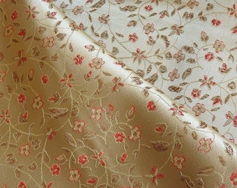 Chinese brocade fabric in warm gold with a floral pattern in light red and gold - 1 yard Chinese brocade, gold brocade fabric by the yard -1