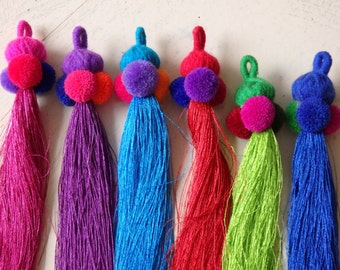 Thai pompom tassel - ONE silky tassel with wool yarn head and pompoms for bag charm, accessories, boho, ethnic tassel, Choose your colour!