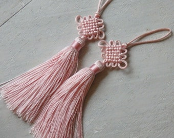 Chinese lucky knot tassels - PALE PINK tassels with smaller knot, one pair decorative knot tassels,  pale pink flat knot tassels - 2 pcs.