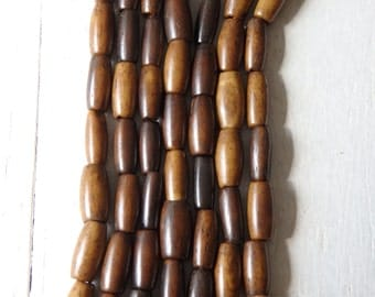 """Bone beads in shades of brown, 24"""" strand of slim barrel shaped bone beads in rich shades of brown, ethnic jewelry supplies, apprx. 50 beads"""
