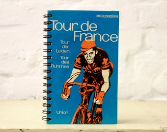 """Spiral Notebook Tartuensis College """"Tour de France"""". Handmade from discarded book covers"""