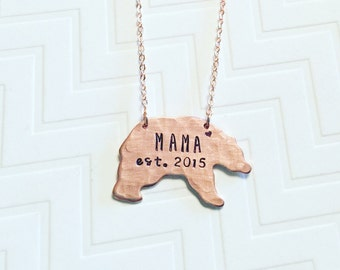Mama Bear Necklace - Established Year - Hand Stamped Personalized - Gift For Mom - Christmas Gift - Copper Rose Gold - Heart